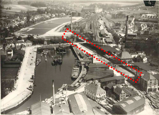 Vegesack harbo with most recent shipyards, 1950